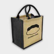 Große Jute-Tasche mit farbigen Akzenten schwarz