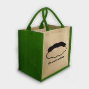 Große Jute-Tasche mit farbigen Akzenten grün
