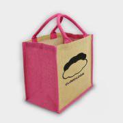 Große Jute-Tasche mit farbigen Akzenten pink