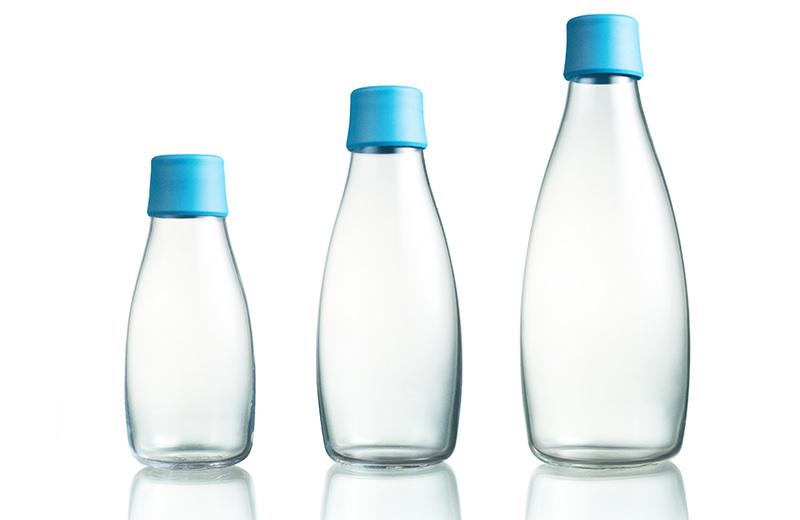 Verfügbare Größen der Designer Glasflasche