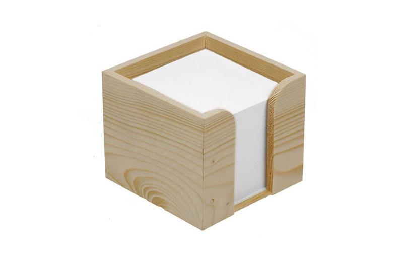 Holz Zettelbox mit Papier