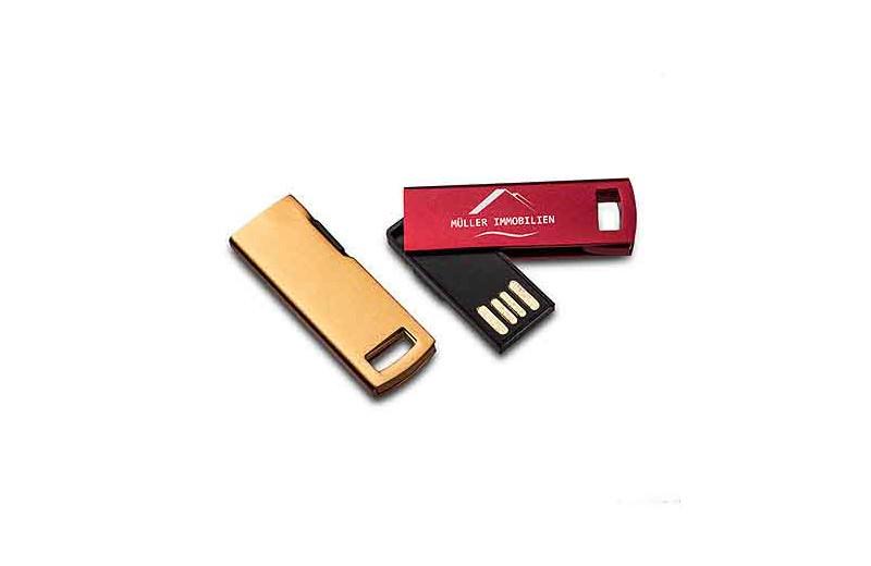 USB Stick Metallic colour gold, rot