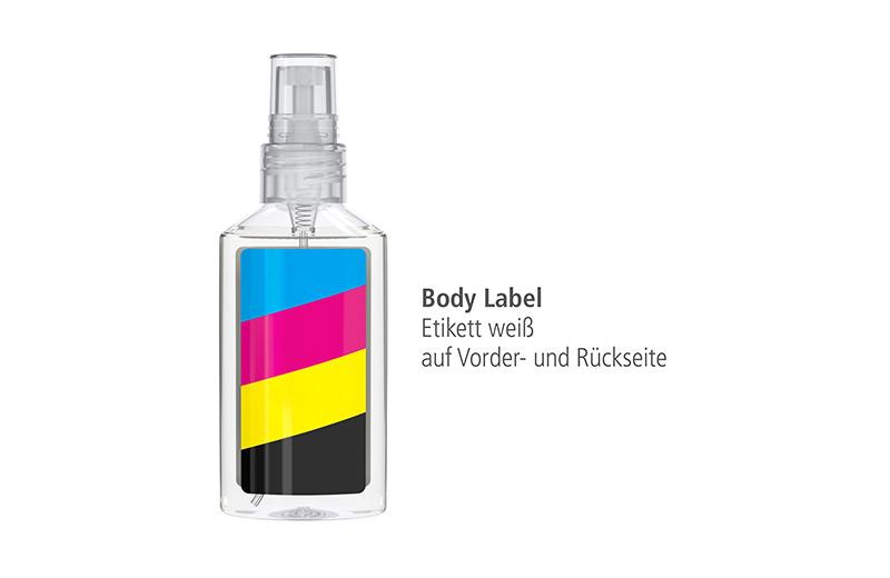 Antibakterielles Handreinigungsspray 50 ml in rPET-Flasche Label