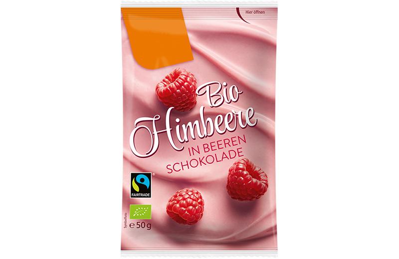 Schokoladen Füchte Bio Himbeeren in Beeren Schokolade