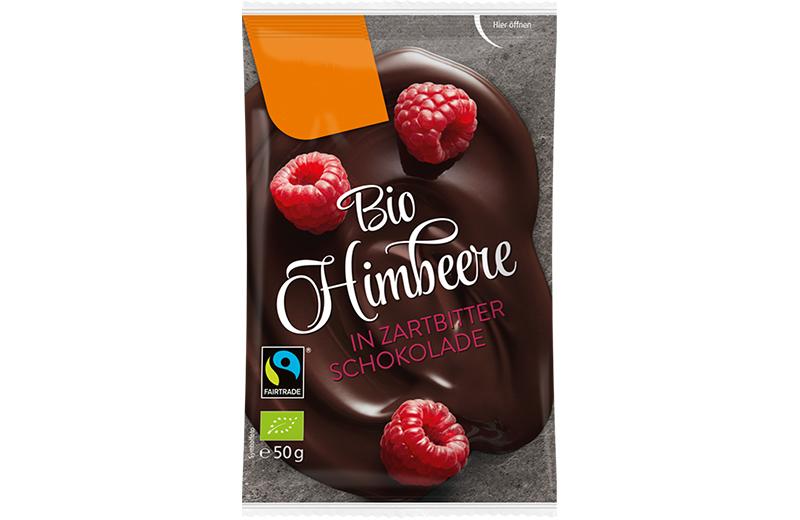Schokoladen Früchte Bio Himbeeren in Zartbitter Schokolade