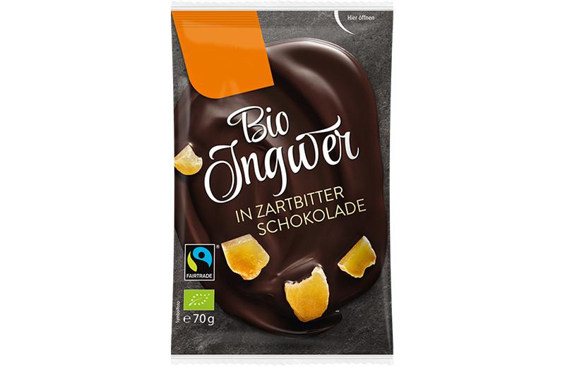 Schokoladen Früchte Bio Ingwer in Zartbitter Schokolade