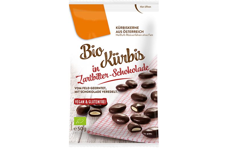 Schoko Saaten Bio Kürbis in Zartbitter Schokolade