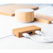 Bambus-Holz USB-Hub Natur mit Kabel