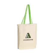 Canvas Tasche mit farbigen Griffen grün