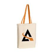 Canvas Tasche mit farbigen Griffen orange