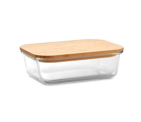 Lunchbox aus Glas mit Bambusdeckel