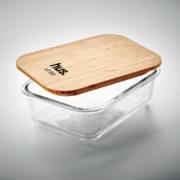 Lunchbox aus Glas mit Bambusdeckel - 1-farbig bedruckt