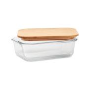 Lunchbox aus Glas mit Bambusdeckel offen
