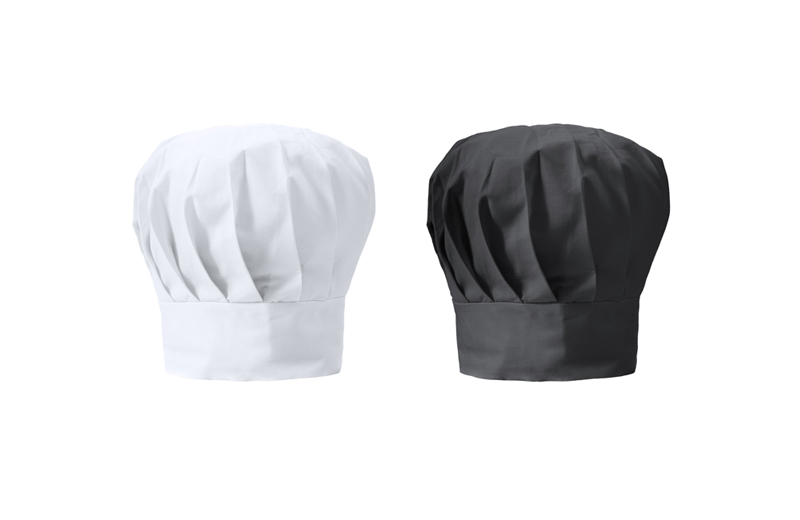 Kochmütze als Werbeartikel in weiss und schwarz